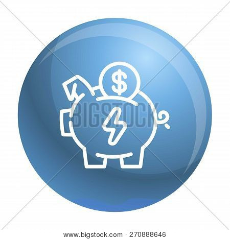 Economy Save Piggy Bank Icon. Outline Economy Save Piggy Bank Vector Icon For Web Design Isolated On