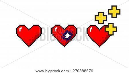 Vector Set Of Pixelart Hearts Medical Concepts