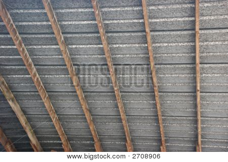 Tin roof patterned lines with wooden struts for support poster