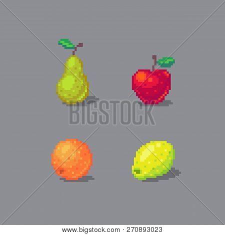 Pixel Art Fruits Set Vector Photo Free Trial Bigstock