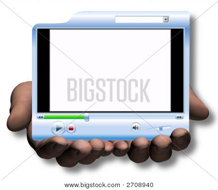 Hands Hold & Offer Media Player Video Presentation