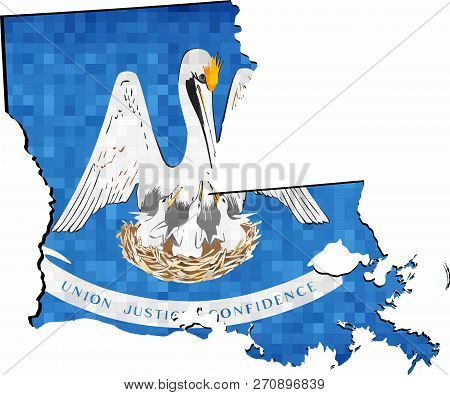 Grunge Louisiana Map With Flag Inside - Illustration,  Map Of Louisiana Vector,   Abstract Grunge Mo