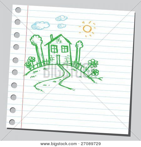 Scribble house on a hill