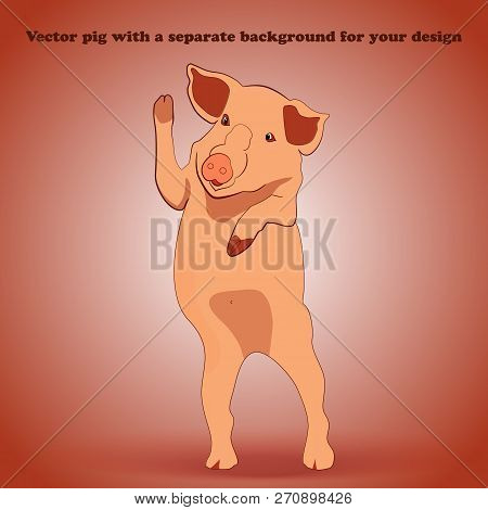Piglet On A Detachable Background Waving To Us
