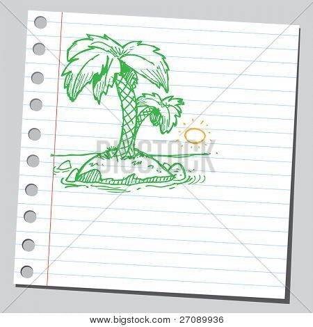 Scribble palm tree island