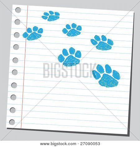 Scribble paw print