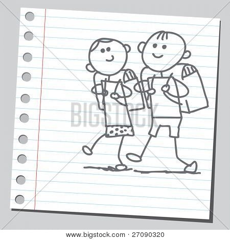 hand drawn children go to school
