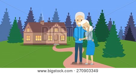 Old Couple. Cute Elderly Character Happy Together