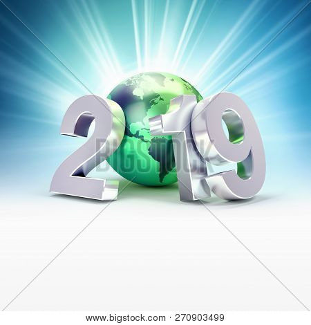 2019 New Year Date Number Composed With A Green Planet Earth, Focused On America, Light Rays Behind