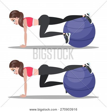 Woman Doing Crunches In The Gym. Belly Burn