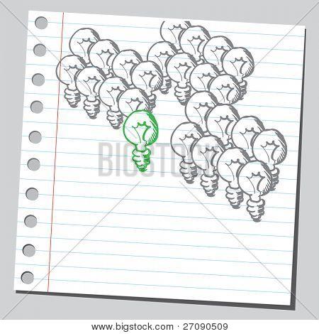 Hand drawn green lightbulb concept