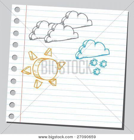 Hand drawn meteorology symbols set one