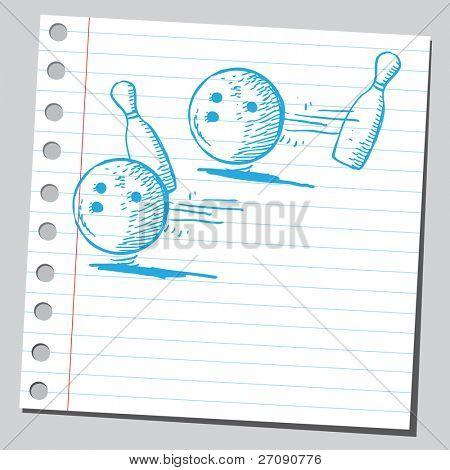 Hand drawn bowling balls and pins