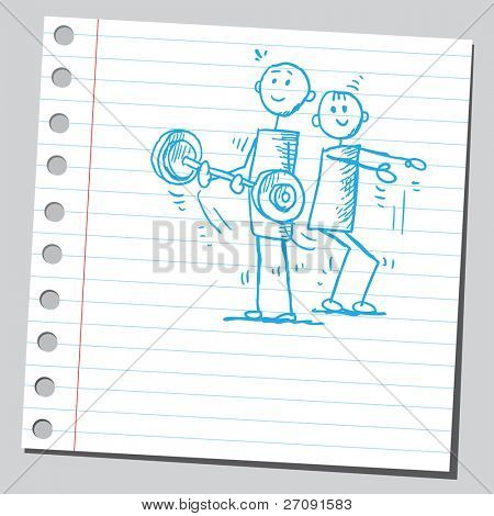 Sketch style illustration of a men exercising