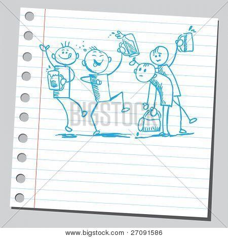 Skizze Stil Abbildung einer glücklichen Menschen betrunken