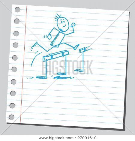Sketch style illustration of a hurdler  athlete running