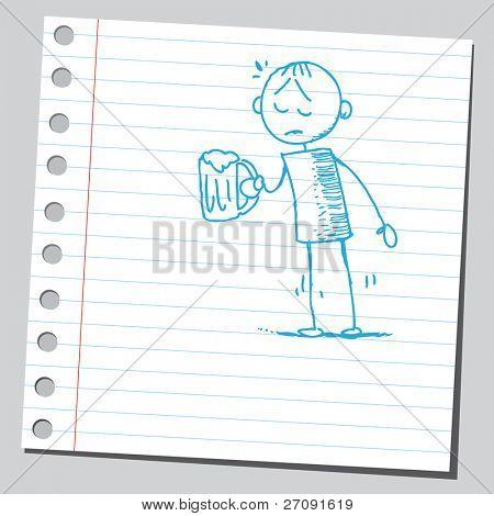 Skizze Stil Abbildung von einem traurigen betrunken Mann