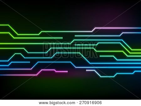 Glowing Neon Circuit Board Lines On Black Background. Vector Technology Design