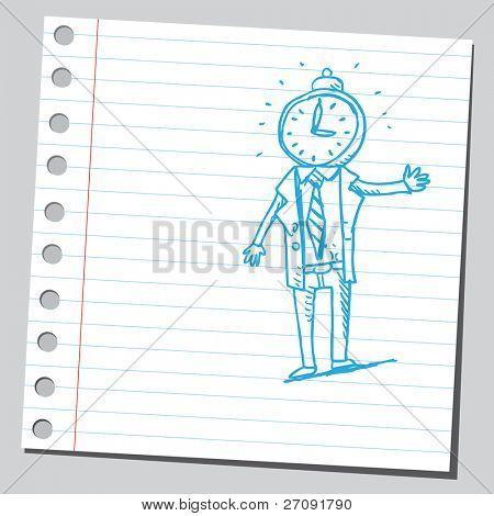 粗略的插图的时钟头奇怪的男人