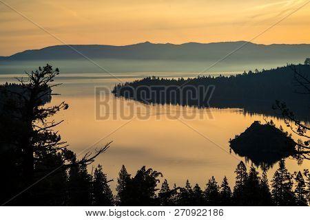 Golden Sunrise at Emerald Bay , Lake Tahoe , Northern California Landscape amazing bliss dream like Sierra Nevada Mountain morning scene poster