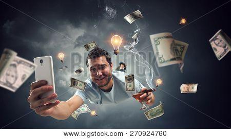 Guy celebrate business success. Mixed media