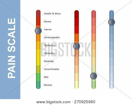 Pain Scale Slider Bar. Assessment Medical Tool. Line Vertical Chart Indicates Pain Stages And Evalua