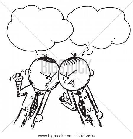 Sketchy illustration of a two businessmen arguing