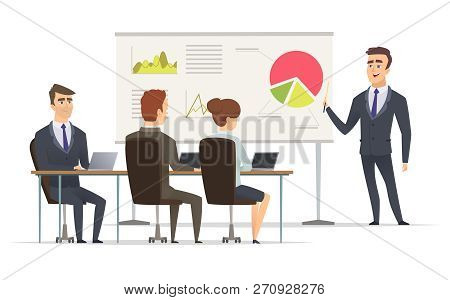 Business Lesson. Teacher Manager Learning On Lecture Office Presentation Concept Marketing Plan On W