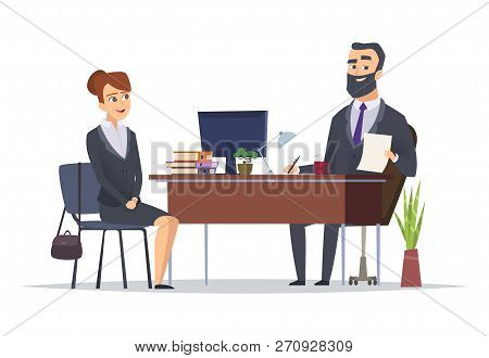 Job Interview. Business Office Meeting Hr Managers Directors Chief Vector Concept Characters. Illust