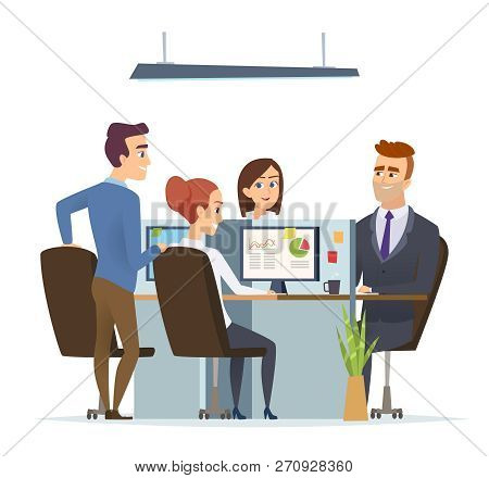 Office Workplace Team. Business Managers Male And Female Working And Talking Sitting Table Dialog Of