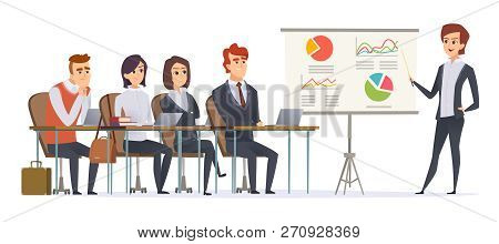 Business Presentation Characters. Group Of Managers Sitting In Classroom Listening Learning Couch Bu