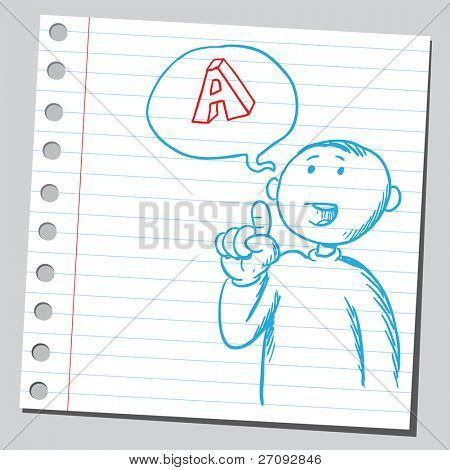 Sketchy illustration of a man saying letter A