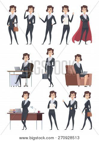 Female Business Characters. Company Office Workers Action Pose Making Different Works With Self Busi