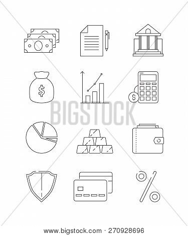 Finance Icons. Business And Bank Economy Payment Money Global Finances Law Vector Line Thin Symbols.