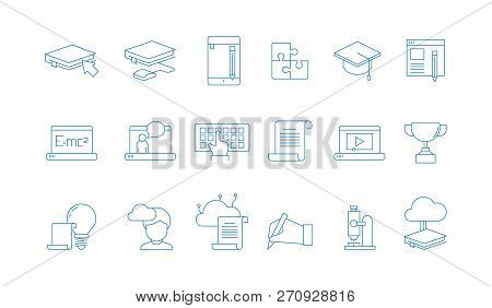 Online Education Icons. Training Study Courses College Special School With Web Computer Distance Tut