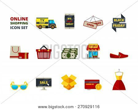 Web Store Icon. Online Shop Payment E Commerce Retail Fashion Products Big Sales Smartphone Cards An