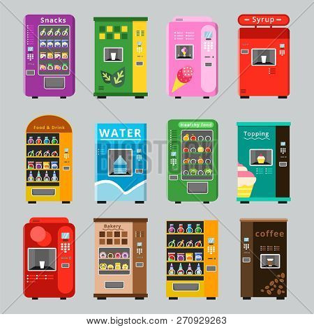 Vending Machines Collcetion. Merchandise Concept With Automatic Selling Various Snacks Water Coffee