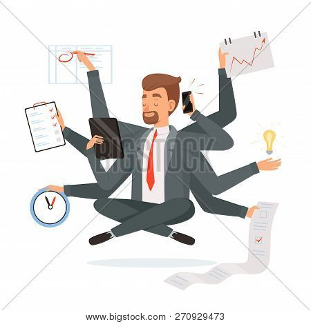 Multitasking Businessman. Office Worker Making Much Work With Hands Writing Calling Reading Yoga Med