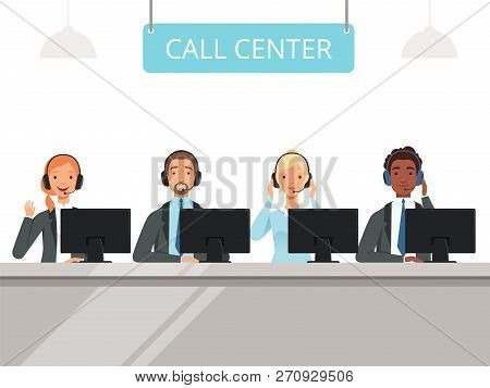 Call Center Characters. Business Customer Service Agents Operator In Headset Sitting Front Laptop Co