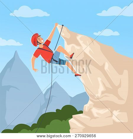 Mountain Climber On Hills. Poster With Male Mountaineering Explore Snow Rocky Mountain Hights Achiev