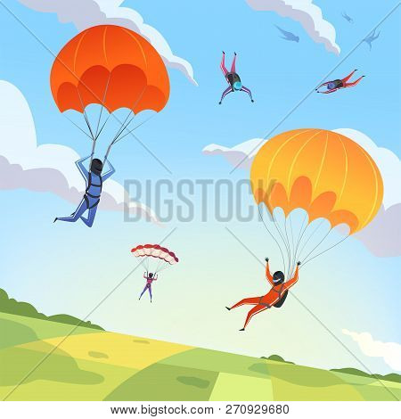 Parachute Jumpers Sky. Extreme Sport Hobbies Adrenaline Character Flying Action Pose Skydiving Parap