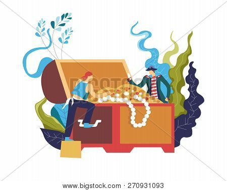 Pirate Stealing Treasury Box Full Of Wealthy Objects