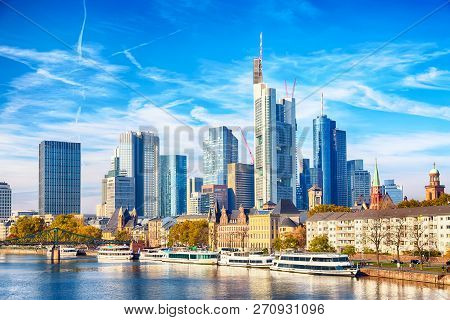 Skyline Cityscape Of Frankfurt, Germany During Sunny Day. Frankfurt Main In A Financial Capital Of E