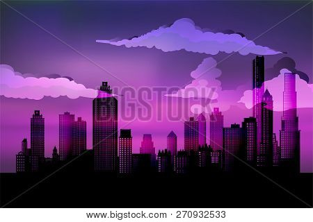 Silhouette Of The City. Cityscape Background. Urban Landscape. For Banner Or Template. Modern City W