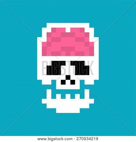 Brain In Skull Pixel Art. Human Internal Organs 8 Bit. Pixelate Anatomy 16bit. Old Game Computer Gra