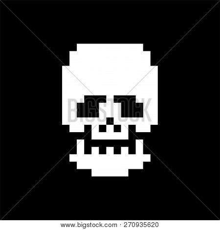 Skull Pixel Art. Bones Anatomy 8 Bit. Pixelate Human Skeleton System 16bit. Old Game Computer Graphi