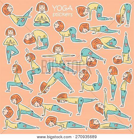 Kids Yoga Sticker Set With Cute Cartoon Girl In Different Yoga Poses. Flat Design. Vector Illustrati