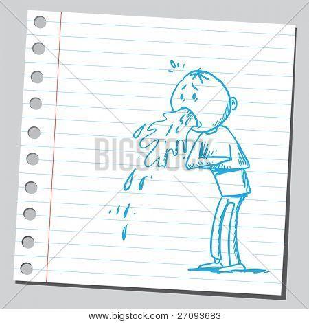 Zeichnung eines Mannes Erbrechen