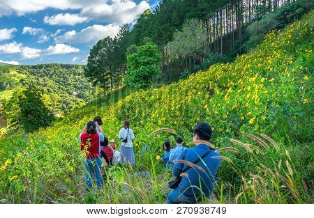 Da Lat, Vietnam - October 27th, 2018: Trippers Are Exploring, Sightseeing And Photography In A Field