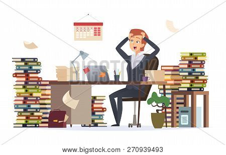Overworked Businesswoman. Asleep Depressed Tired Hard Work Female Manager Sitting Office Desk In Big